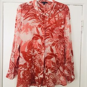 Tommy Hilfiger Sheer Floral Button Front Blouse
